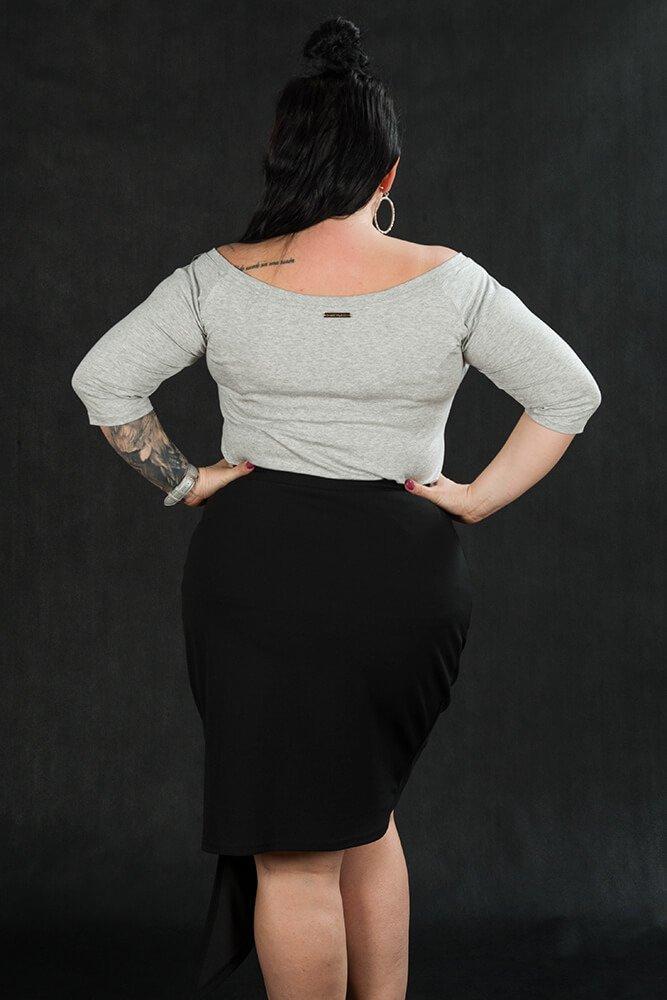 Bluzka damska DEBRA Plus Size Zmysłowa szary melanż