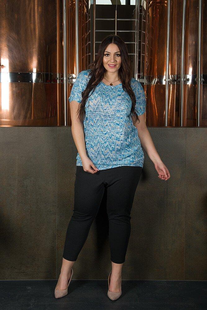 Bluzka damska PARIS Duże rozmiary niebieski melanż