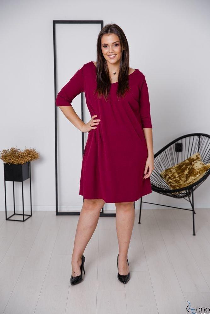 Bordowa Sukienka AFETIA Plus Size