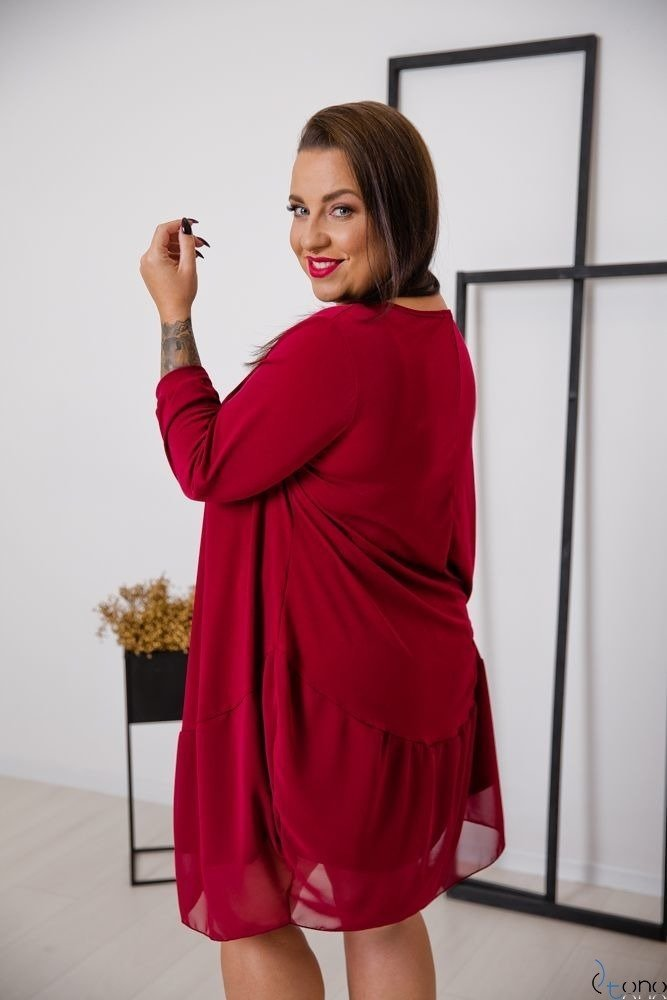 Bordowa Sukienka APPRI Plus Size