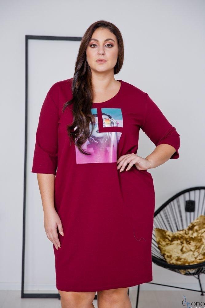 Bordowa Sukienka ELIA Plus Size