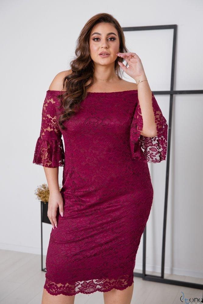 Bordowa Sukienka MORVY Plus Size