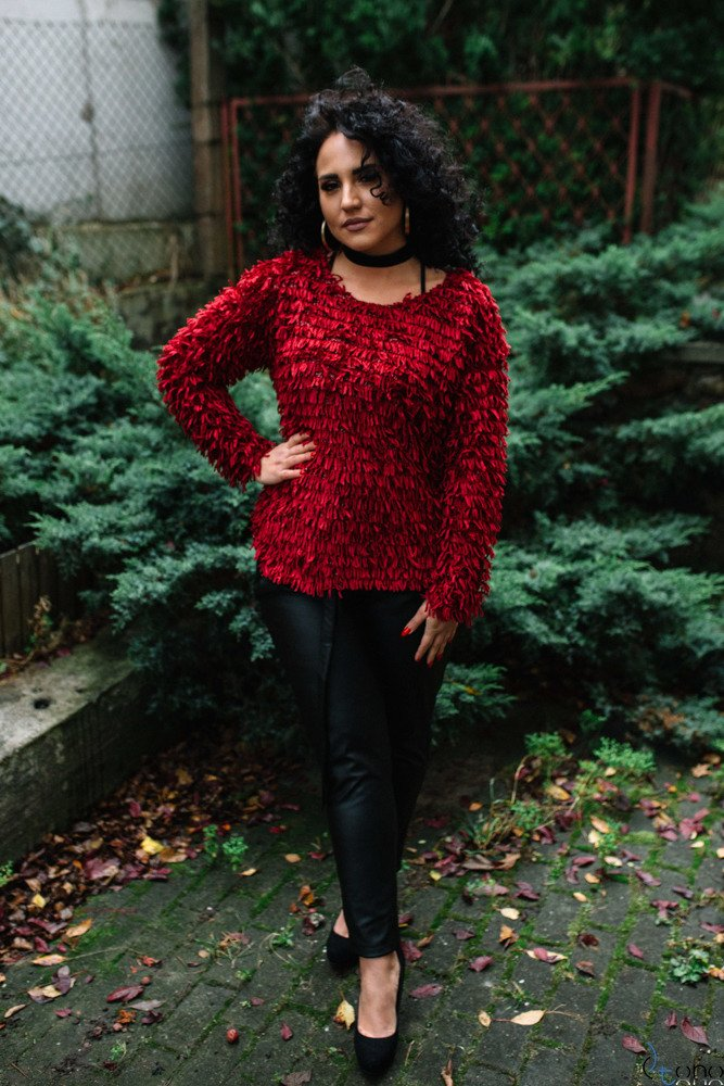Bordowy Sweter TUVES Plus Size