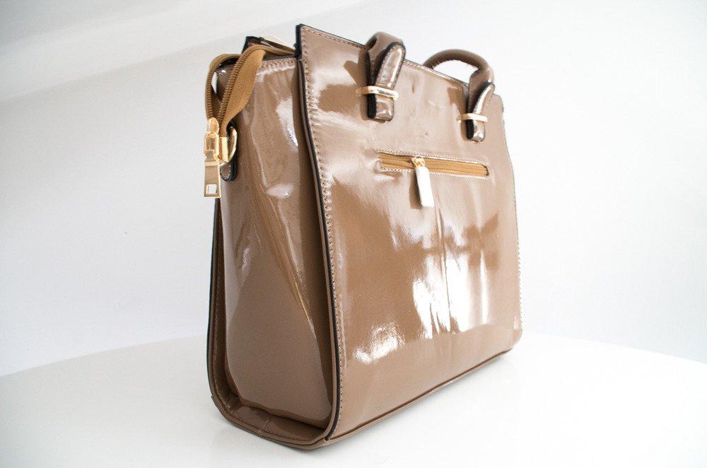 Brązowa błyszcząca torebka damska Denver