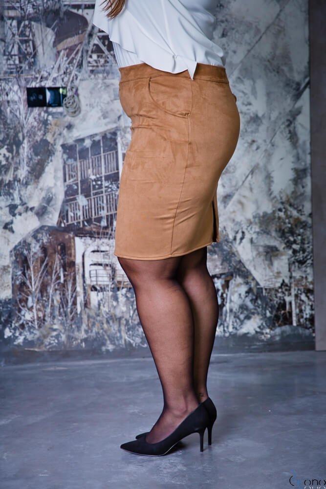 Camelowa Spódnica damska BONNY Zamsz Plus Size