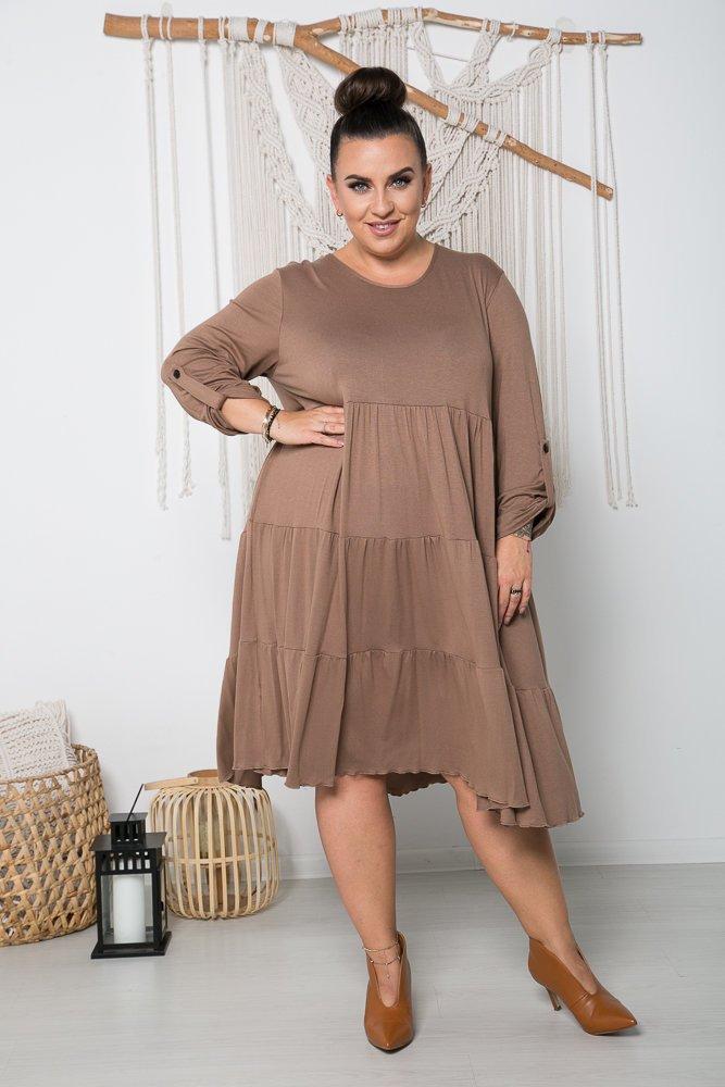 Camelowa Sukienka MARSI Plus Size