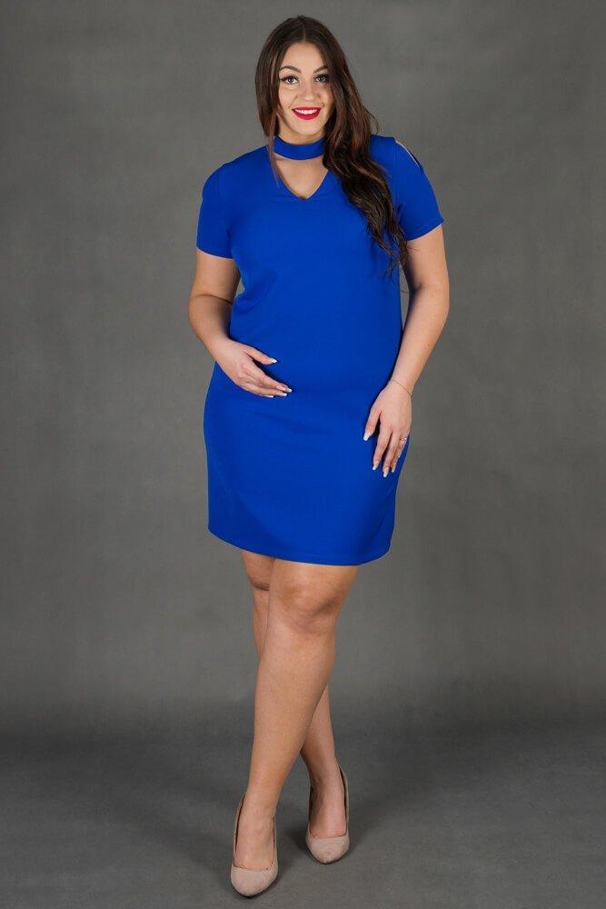 Chabrowa Sukienka CASCADA Trapezowa Plus Size
