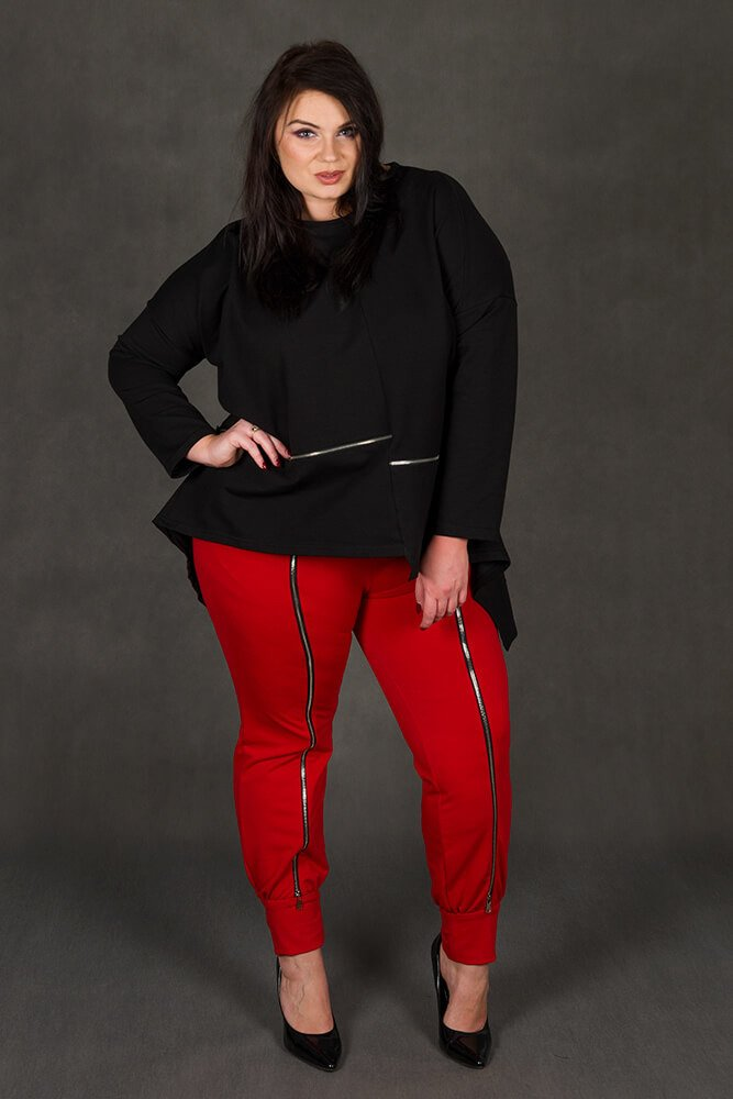 Czarna Bluza damska RUBY Dresowa Plus Size