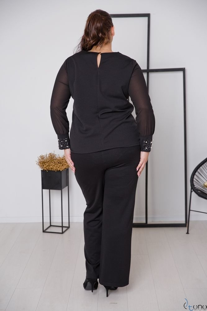 Czarna Bluzka DEFENEY Plus Size