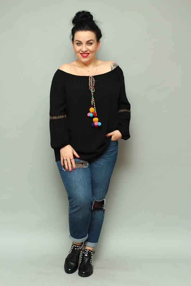 Czarna Bluzka FOGGIA Plus Size pompony