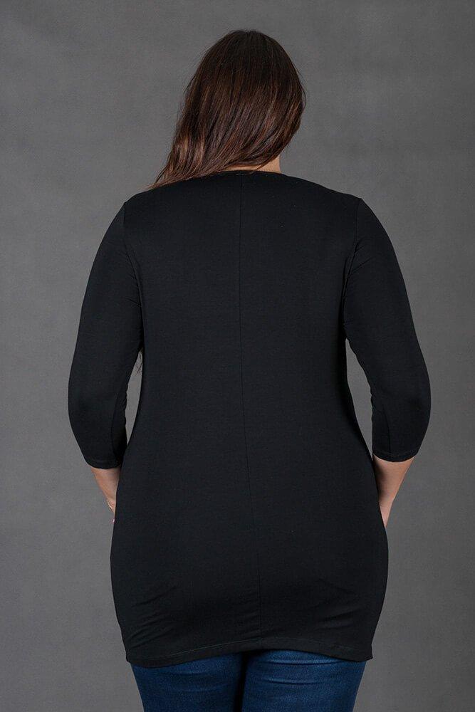 Czarna Bluzka RAMONA Kieszenie
