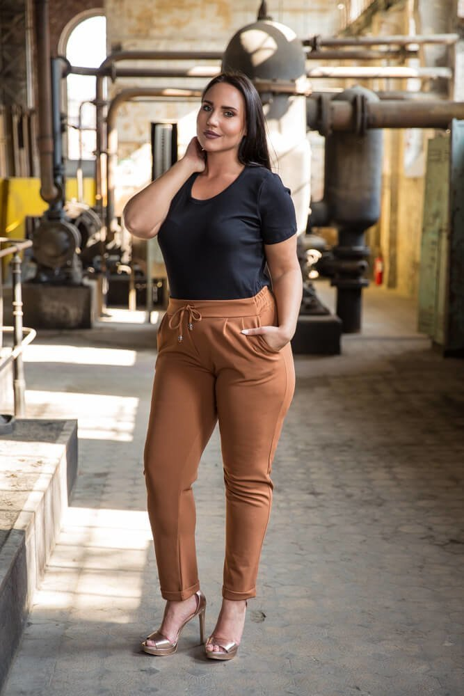 Czarna Bluzka damska DETRRA T-Shirt Plus Size