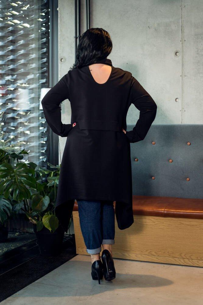 Czarna Koszula damska MOLARA Rozkloszowana Plus Size