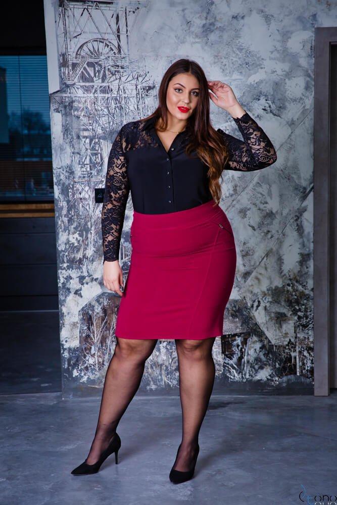 Czarna Koszula damska SIFER Plus Size Koronka