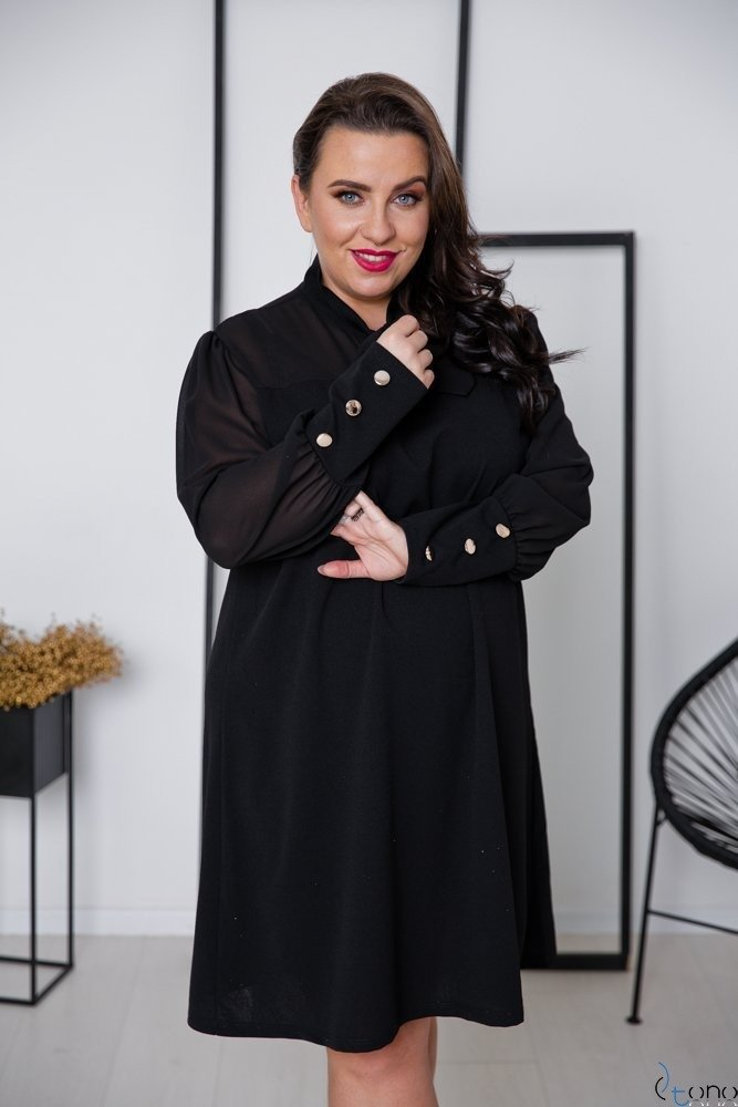 Czarna Sukienka BJORK Plus Size