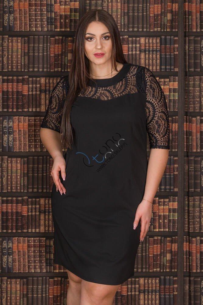 Czarna Sukienka GLORIA Elegancka Koronka Ołówkowa