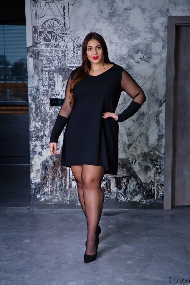 Czarna Sukienka JULIEN Trapezowa Plus Size