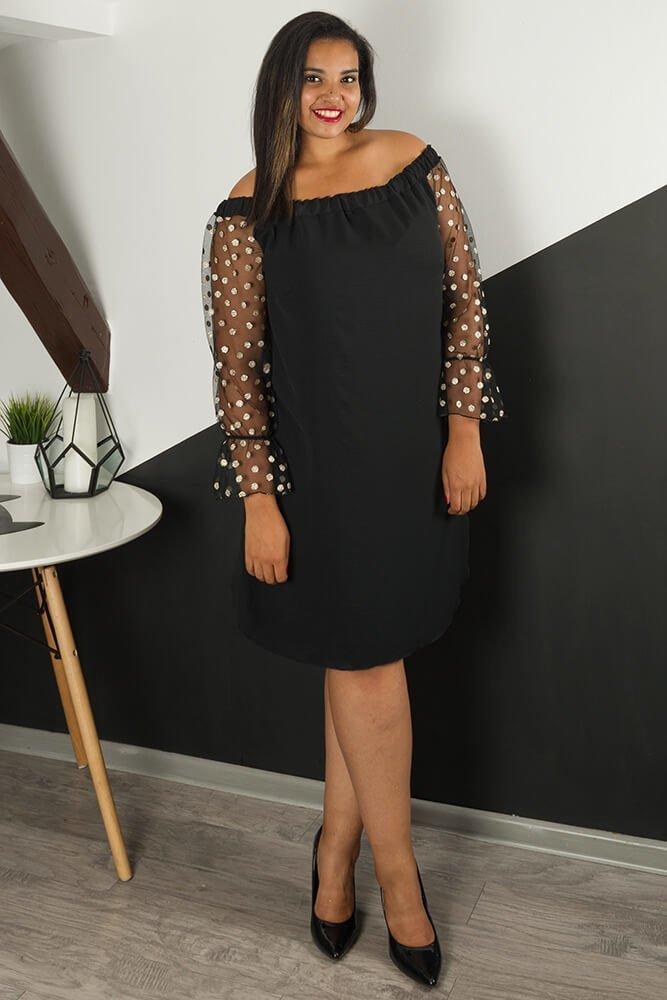 Czarna Sukienka MADAME Plus Size Grochy