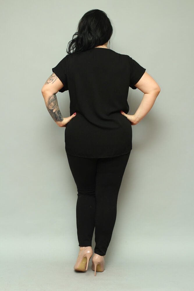 Czarna bluzka damska BRESSA Flaming Plus Size