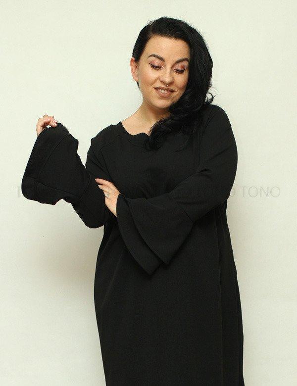 Czarna sukienka damska CAMPA rozkloszowany rękaw duże rozmiary