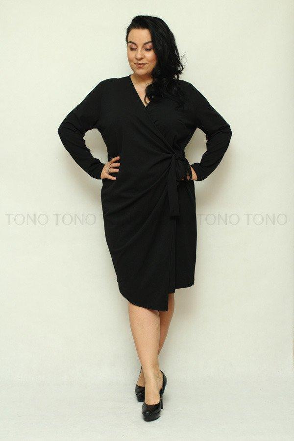 Czarna sukienka damska RAMONA wiązana Plus Size