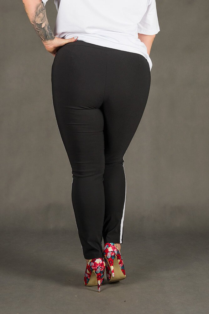 Czarne Spodnie HOLLY Lampas Plus Size