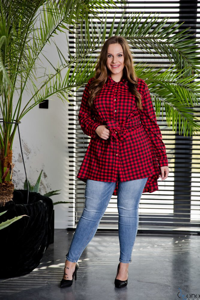Czarno-Czerwona Koszula damska LANICA Plus Size