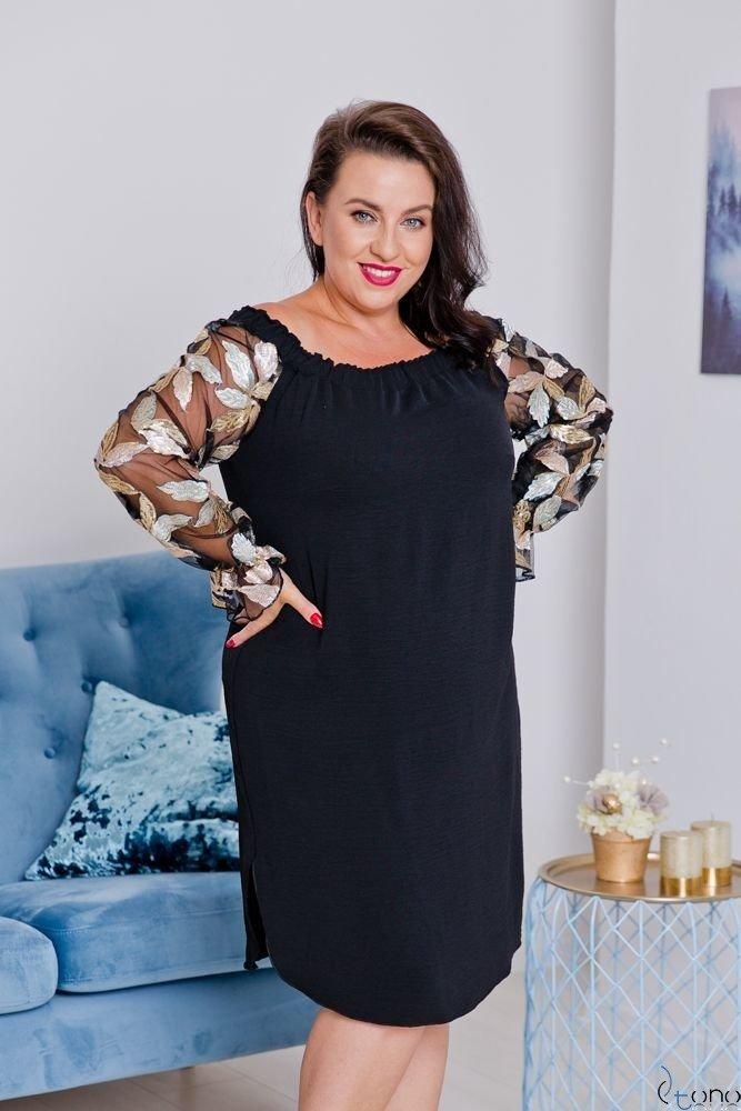 Czarno-Złota Sukienka MADAME Plus Size