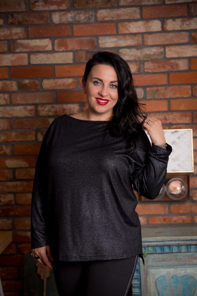 Czarno-srebrna Bluzka CIRCLE Plus Size Khaki