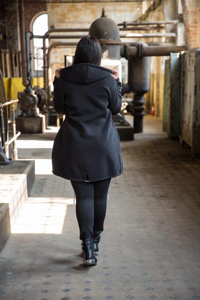 Czarny Płaszcz FERTILLA Plus Size