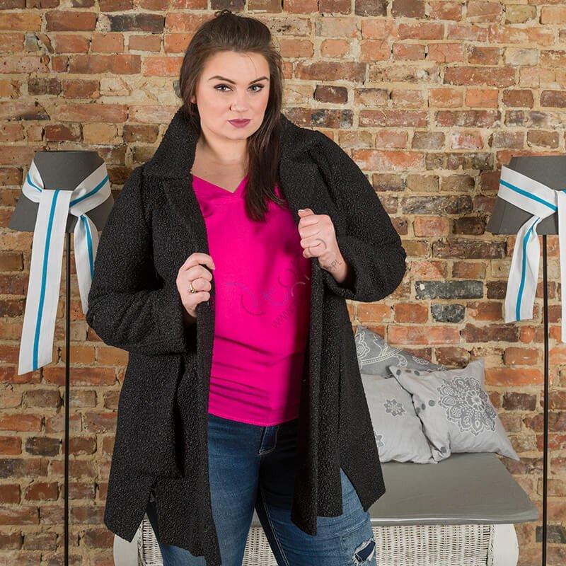 Czarny Płaszcz damski FELPA Trapezowy Plus Size