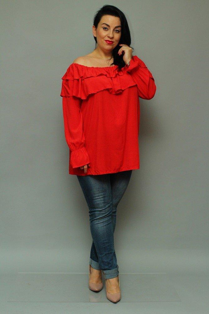 Czerwona Bluzka BASTIA Hiszpanka Koszulowa Modna Plus Size