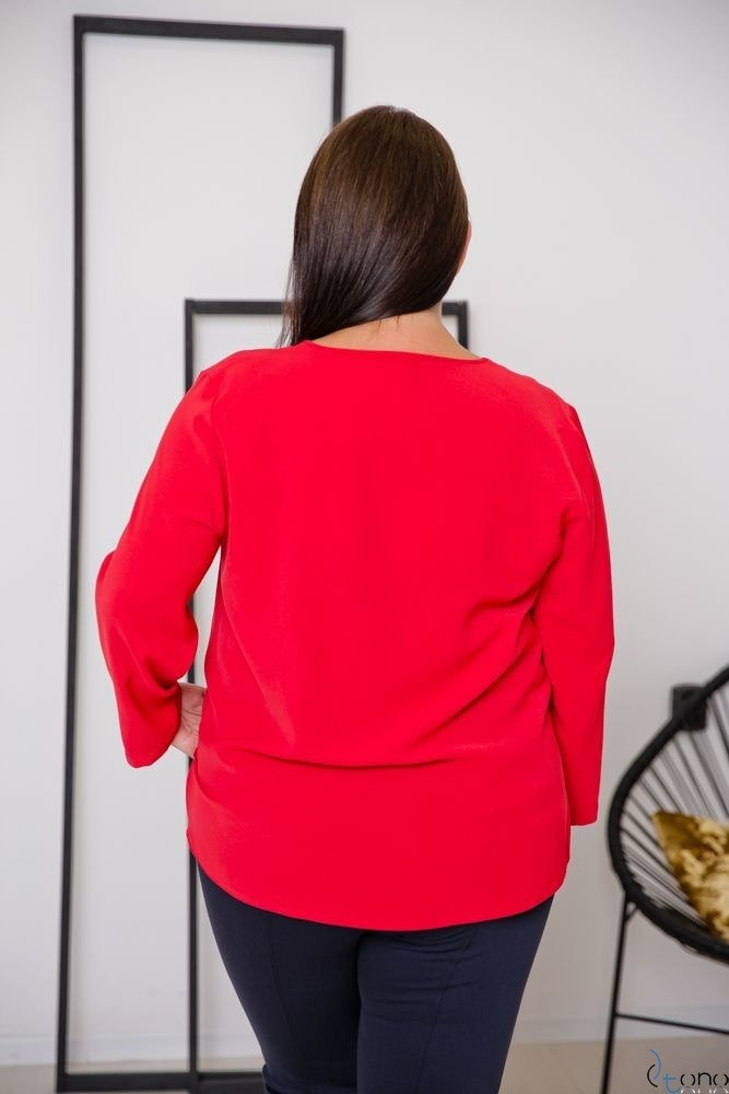 Czerwona Bluzka VERTER Plus Size