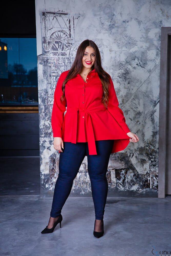 Czerwona Koszula damska LANICA Plus Size