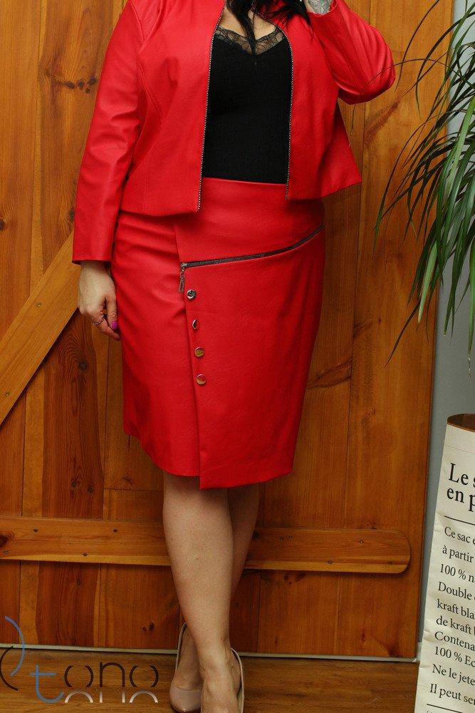 Czerwona Spódnica DESMA Eko Skóra Midi