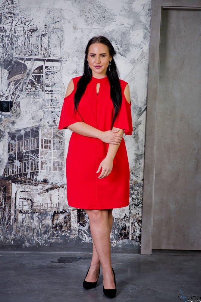 Czerwona Sukienka ABRAZZA Plus Size