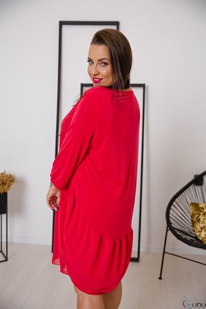 Czerwona Sukienka APPRI Plus Size