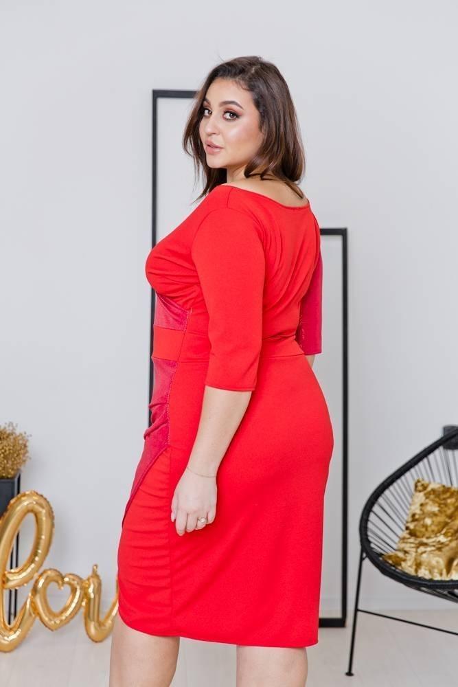 Czerwona Sukienka DRIMA Plus Size