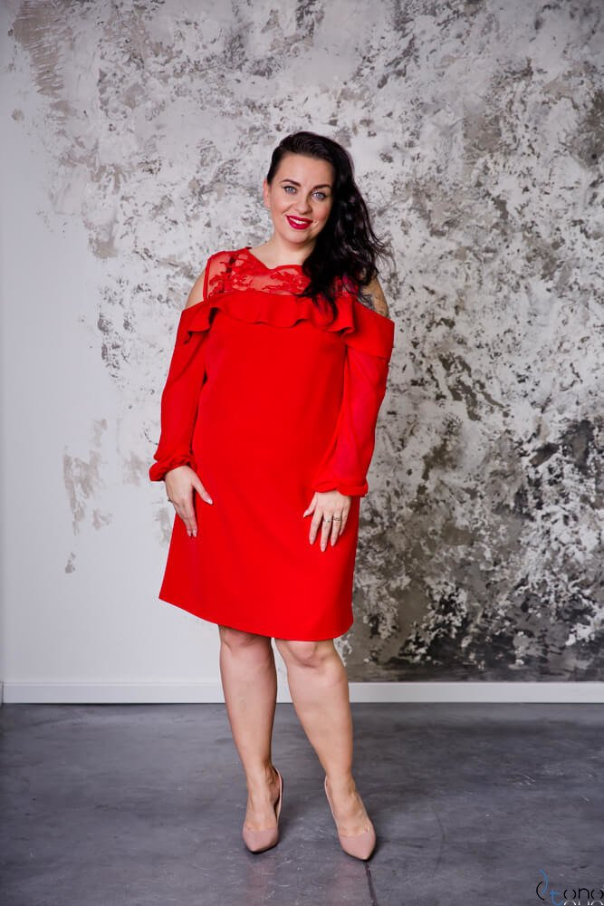 Czerwona Sukienka INEZ Plus Size