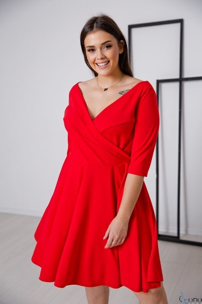 Czerwona Sukienka OLINDA Plus Size
