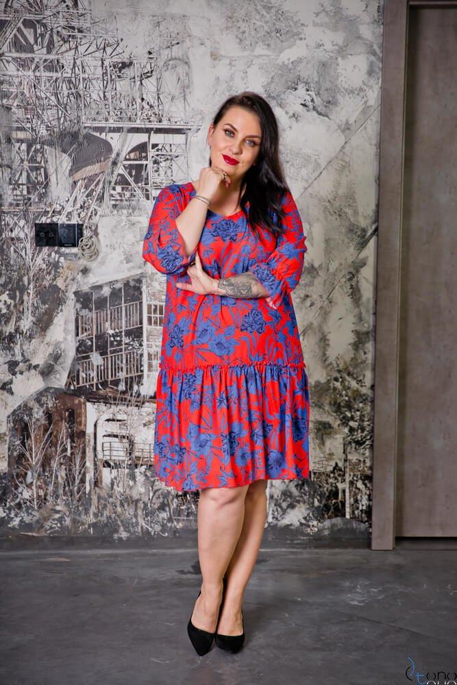 Czerwona Sukienka SARA Plus Size