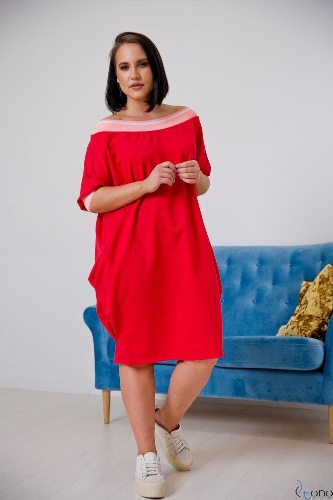 Czerwona Sukienka SEPPI Plus Size Wzór 2