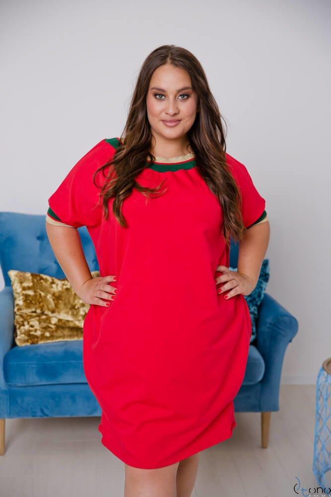 Czerwona Sukienka SEPPI Plus Size Wzór 3