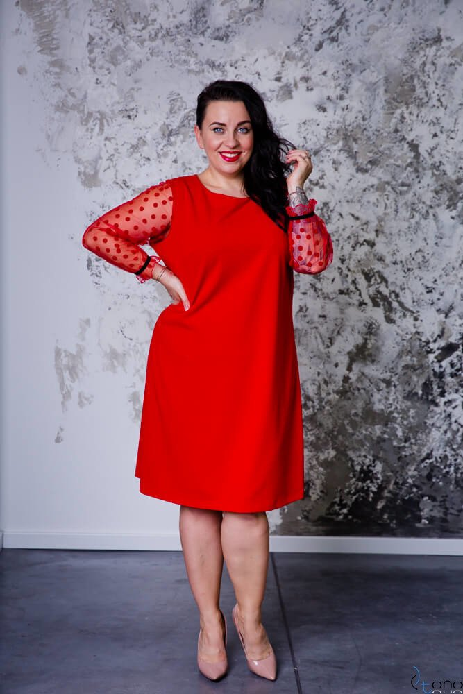 Czerwona Sukienka SYLWESTRA Plus Size