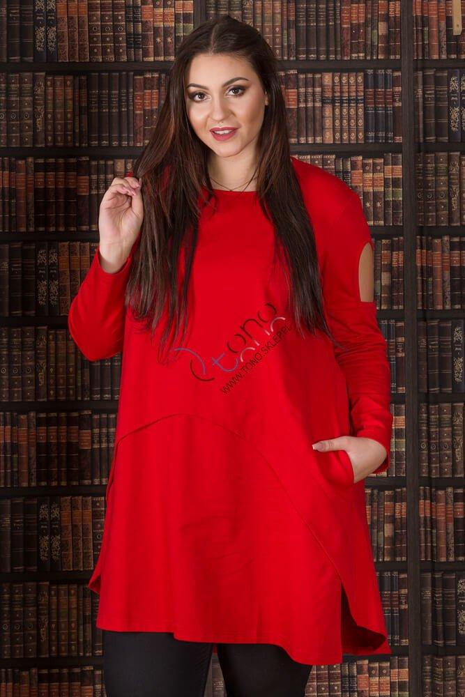 Czerwona tunika damska WENDY Size Plus