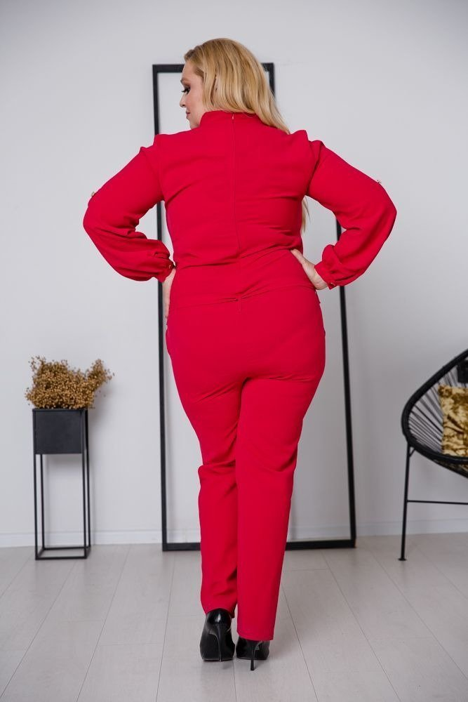 Czerwony Kombinezon VIVIEN Plus Size