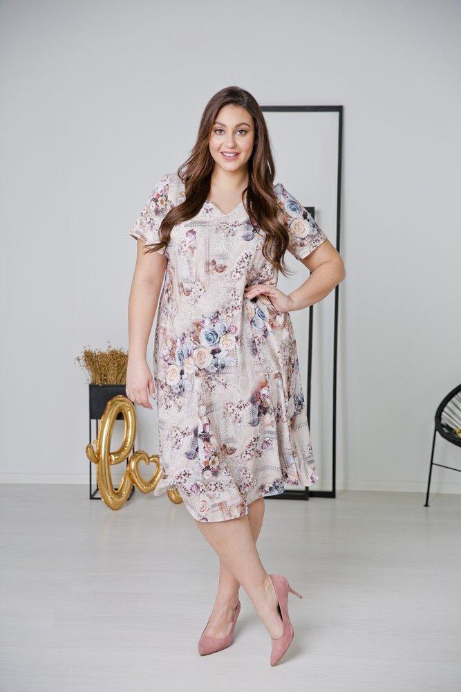 Ecru Sukienka LILA Plus Size Wzór 7