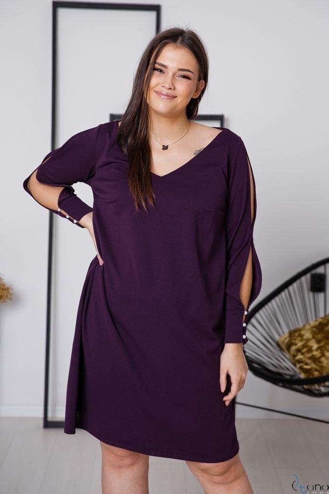 Fioletowa Sukienka NADALL Plus Size
