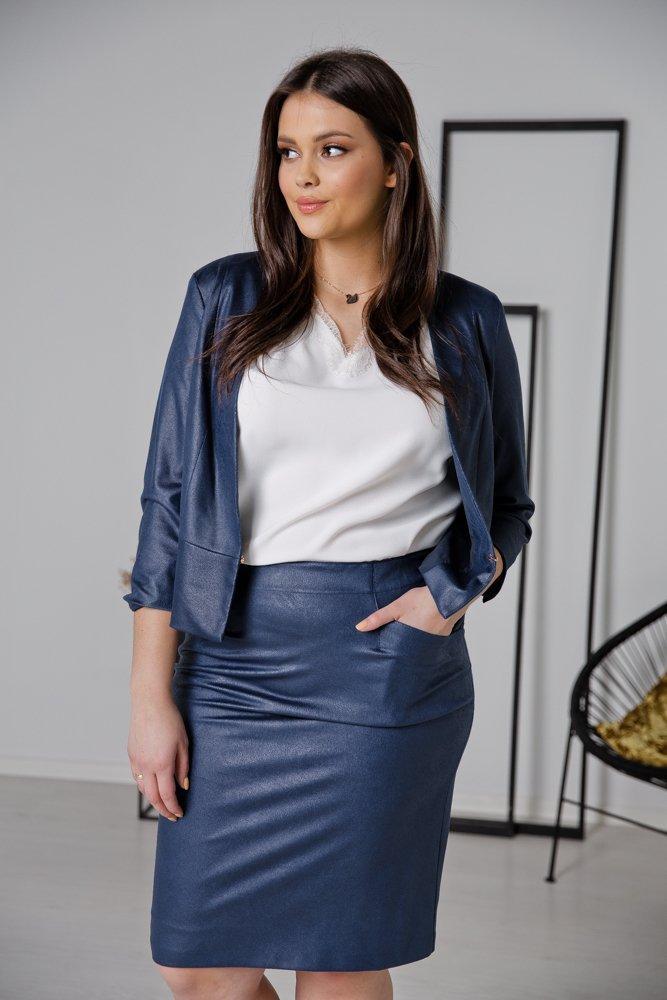 Granatowa Spódnica BIRA Plus Size