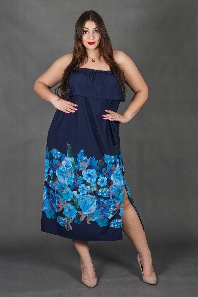 Granatowa Sukienka LORITA Hiszpanka Kwiaty